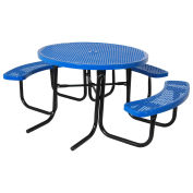"""46"""" ADA Round Table, Perforated, Thermoplastic Steel, Blue"""