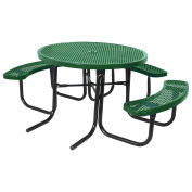 """46"""" ADA Round Table, Perforated, Thermoplastic Steel, Green"""