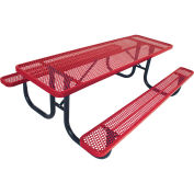 6' Picnic Table, Perforated, Red