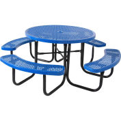 "46"" Round Table, Perforated, Thermoplastic Steel, Blue"