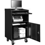 "Mobile Computer Cabinet, Black, Assembled, 27""W x 24""D x 49-1/4""H"