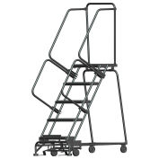 """Ballymore WA053214G 5 Step Safety Rolling Ladder, Weight Actuated Lock Step 24""""W Serrated Step"""