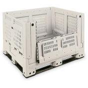 """Macro Plastics Shuttle Bin 330 Folding Container, Tan, 40""""L x 48""""W x 33""""H"""