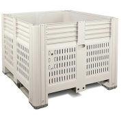 "Macro Plastics MacroBin Bulk Container, 44-3/4""L x 48-1/4""W x 34-5/8""H, Ivory"