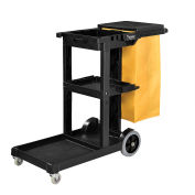 Janitor Cart with 25 Gallon Vinyl Bag, Black