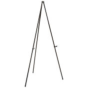 "Heavy Duty Easel Stand, Black, Aluminum, Portable, 63-1/2""H"