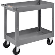 "2 Shelf Deep Tray Steel Stock Cart, 500 Lb. Capacity, 30""L x 16""W x 32""H"
