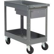 "2 Shelf Deep Tray Steel Stock Cart, 500 Lb. Cap. with 1 Drawer, 30""L x 16""W x 32""H"