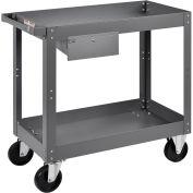 "2 Shelf Deep Tray Steel Stock Cart, 800 Lb. Capacity with 1 Drawer, 30""L x 16""W x 32""H"