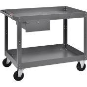 "2 Shelf Deep Tray Steel Stock Cart, 800 Lb. Capacity with 1 Drawer, 36""L x 24""W x 32""H"