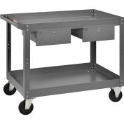 "2 Shelf Deep Tray Steel Stock Cart, 800 Lb. Capacity with 2 Drawers, 36""L x 24""W x 32""H"