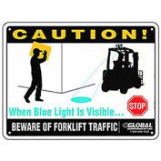 "12"" x 9"" Beware of Forklift Traffic Safety Warning Sign - Plastic"