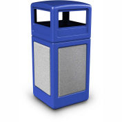 Commercial Zone StoneTec® 42 Gallon Square Receptacle with Dome Lid, Blue w/Ashtone Panels