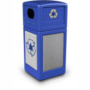 Commercial Zone StoneTec® 42 Gallon Recycle Container, Blue w/Ashtone Panels