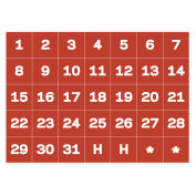 MasterVision Magnetic Calendar Dates, White on Red