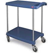 "Metro myCart™ 2-Shelf Utility Cart with Chrome-Plated Posts, Blue, 25x18"" Shelves"