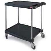 "Metro myCart™ 2-Shelf Utility Cart with Chrome-Plated Posts, Black, 28x23"" Shelves"