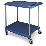 "Metro myCart™ 2-Shelf Utility Cart with Chrome-Plated Posts, Blue, 28x23"" Shelves"