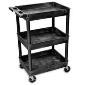 "Luxor Tray-Shelf Carts - 24""W x 18""D Shelf, 41-1/2""H - Black"