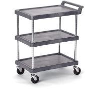 "Economical Polymer Utility Carts - 28""Wx17""D Shelf - 3 Shelves"