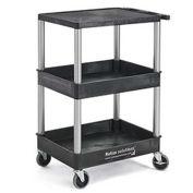 Relius Solutions Flush Top Tray-Shelf Carts - 3 Shelves, Nickel Legs