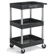 """Relius Solutions Tray-Shelf Carts With Nickel Legs, 3 Shelves, Tub Top, 24x18x38-1/2"""""""
