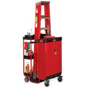 Rubbermaid Ladder Cart With Lockable Cabinet, 31-1/2x27x42H