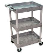 "Luxor | H. Wilson Tray-Shelf Carts, Gray, 32""Wx24""D Shelf, 37-1/4""H"