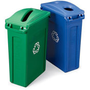 RUBBERMAID Slim Jim Recycling Container - Vented Container - Green