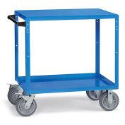 "Flush-Shelf Shop Cart, 36""W x 24""D Shelves, 8"" Gray Non-Marking Rubber Casters, Blue"