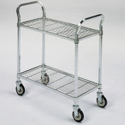 "Square-Post Wire Utility Carts with Rubber Casters, 60""W x 24""D x 40""H, 2 Shelves"
