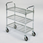 """Square-Post Wire Utility Carts with Rubber Casters, 60""""W x 24""""D x 40""""H, 3 Shelves"""