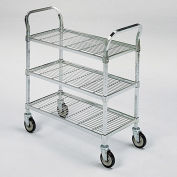 """RELIUS SOLUTIONS Square-Post Wire Utility Carts with Rubber Casters -36""""Wx24""""D Shelf - 3 Shelves"""