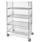 """Square-Post Wire Stock Trucks with Smart Casters, 48""""W x 24""""D x 70""""H"""