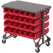 "Akro-Mills Shelf-Top Bin Cart, (12) 16-1/2 x14-3/4 x7"" Red Bins, 38-1/2 x24x36-1/2"""