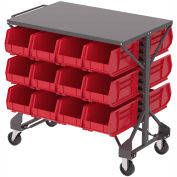 "Akro-Mills Shelf-Top Bin Cart, (24) 8-1/4 x14-3/4 x7"" Red Bins, 38-1/2 x24x36-1/2"""
