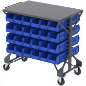 "Akro-Mills Shelf-Top Bin Cart, (12) 16-1/2 x14-3/4 x7"" Blue Bins, 38-1/2 x24x36-1/2"""