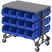 "Akro-Mills Shelf-Top Bin Cart, (24) 8-1/4 x14-3/4 x7"" Blue Bins, 38-1/2 x24x36-1/2"""