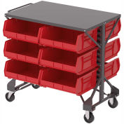 "Akro-Mills Shelf-Top Bin Cart, (48) 5-1/2 x10-7/8 x5"" Red Bins, 38-1/2 x24x36-1/2"""