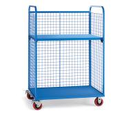 "Wire Cage Trucks, Steel Shelf, 5"" Polyurethane Casters, 45""L x 24""W x 64-1/2""H, Blue"