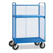 "Wire Cage Trucks, Steel Shelf, 8"" Pneumatic Casters, 45""L x 24""W x 64-1/2""H, Blue"