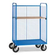 "Wire Cage Trucks, Wood Shelf, 8"" Pneumatic Casters, 45""W x 24""D Shelf, Blue"