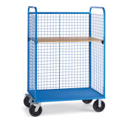 """Wire Cage Trucks, Wood Shelf, 8"""" Mold-On Rubber Casters, 45""""L x 24""""W x 64-1/2""""H, Blue"""
