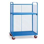 "Wire Cage Trucks, Steel Shelf, 5"" Polyurethane Casters, 45""L x 30""W x 64-1/2""H, Blue"