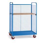 """Wire Cage Trucks, Wood Shelf, 5"""" Polyurethane Casters, 45""""W x 30""""D Shelf, Blue"""