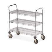 "Metro Three-Shelf Wire Carts, 48""W x 18""D x 39-1/2""H"