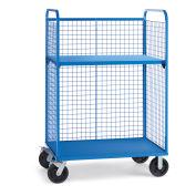 "Wire Cage Trucks, Steel Shelf, 8"" Mold-On Rubber Casters, 45""L x 24""W x 64-1/2""H, Blue"