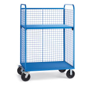 "Wire Cage Trucks, Steel Shelf, 8"" Mold-On Rubber Casters, 45""L x 30""W x 64-1/2""H, Blue"