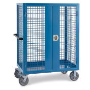 """Wire Security Truck, 60""""W x 30""""D x 60""""H, 8"""" Gray Non-Marking Rubber Casters, Blue"""