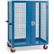 """Wire Security Truck, 48""""W x 24""""D x 60""""H, 5"""" Poly Casters, Blue"""